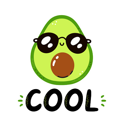 Cute funny avocado in sunglasses. Cool quote. Vector scandinavian style cartoon character illustration. Isolated on white background. Avocado character nursery print for t-shirt,card,poster concept