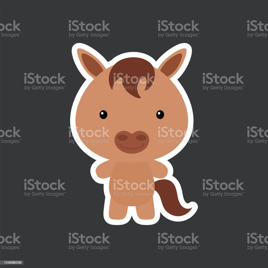 Cute Funny Baby Horse Sticker Domestic Adorable Animal Character For Design Of Album Scrapbook Card Poster Invitation Stock Illustration Download Image Now Istock