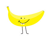 cute funny banana, vector illustration