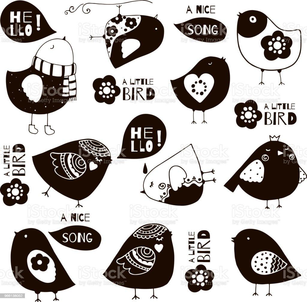 Cute funny birds vector illustration - Royalty-free Art stock vector