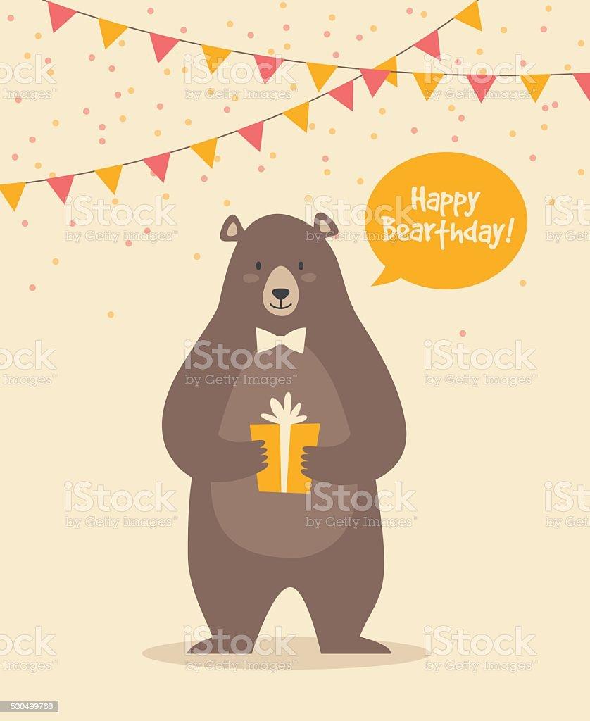 Cute Funny Birthday Bear vektör sanat illüstrasyonu