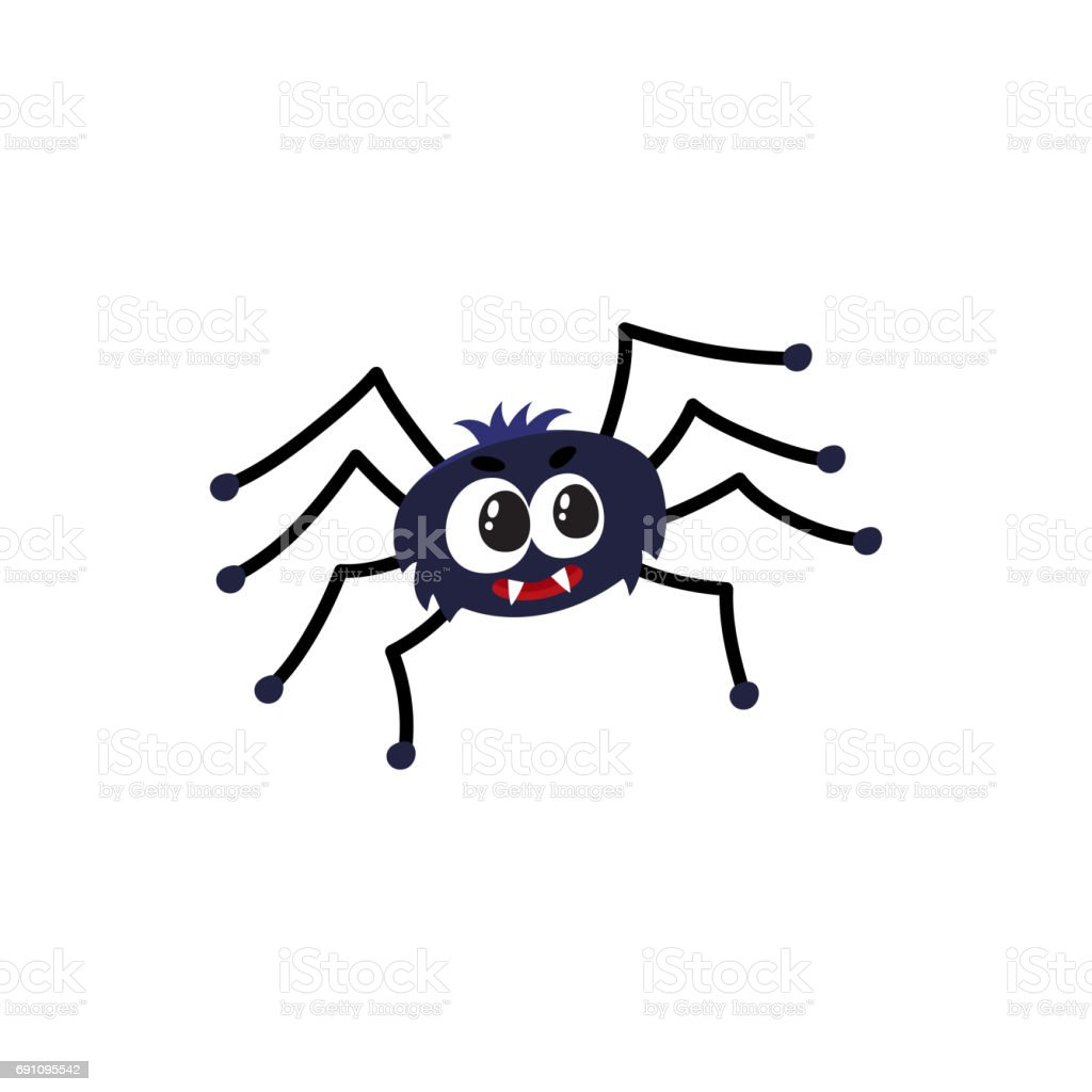 Ilustracion De Arana Negra Lindo Divertido Tradicional Simbolo De - Dibujos-araas-halloween