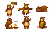 Set of isolated hand drawn cute funny brown bear animals doing everyday things over white background vector illustration. Happy children books illustrations concept