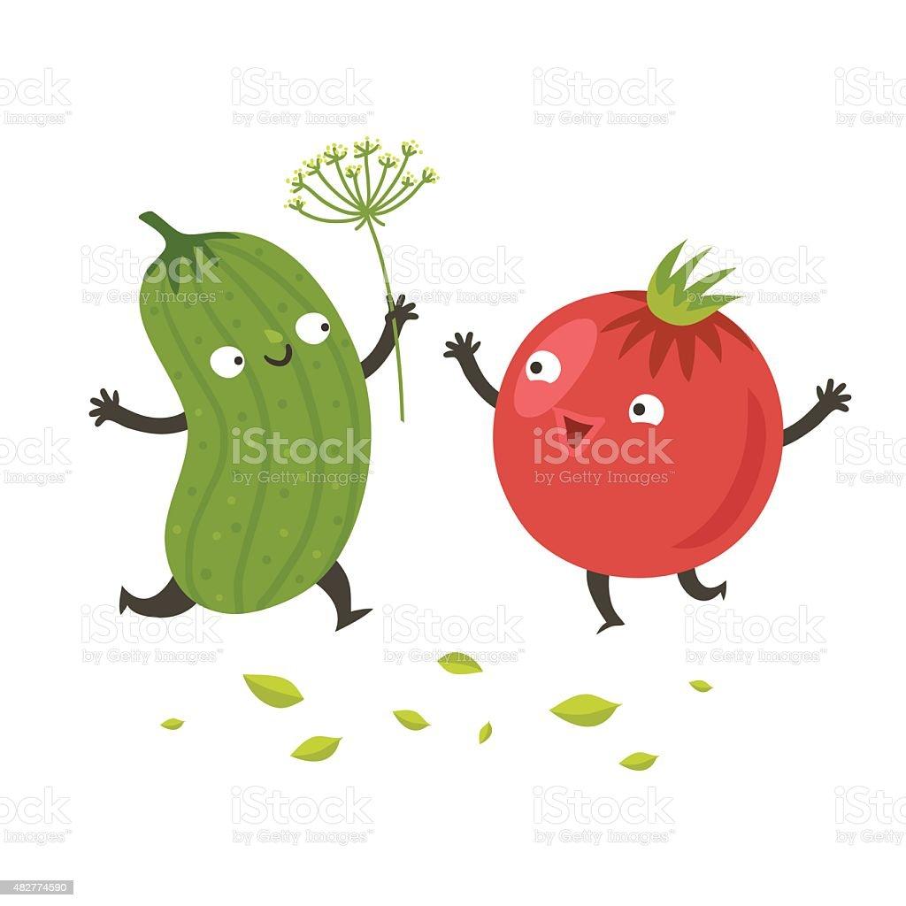 Cute funny cartoon cucumber and tomato vector art illustration