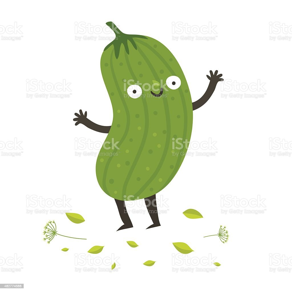 Cute funny cartoon cucumber vector art illustration