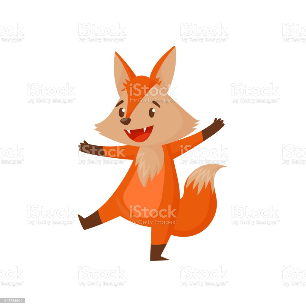 白い背景に楽しいかわいい面白い漫画赤狐文字ベクトル イラスト