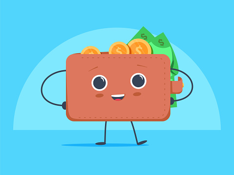Cute Funny Cartoon Wallet With Dollar Currency And Coins Money Stock  Illustration - Download Image Now - iStock