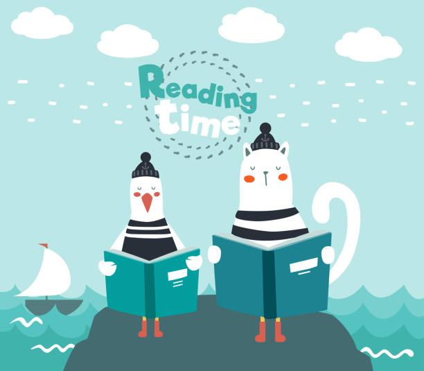 niedliche lustige katze und meeresmöwe mit gestreiftem hemd lesen ein buch - reiseliteratur stock-grafiken, -clipart, -cartoons und -symbole