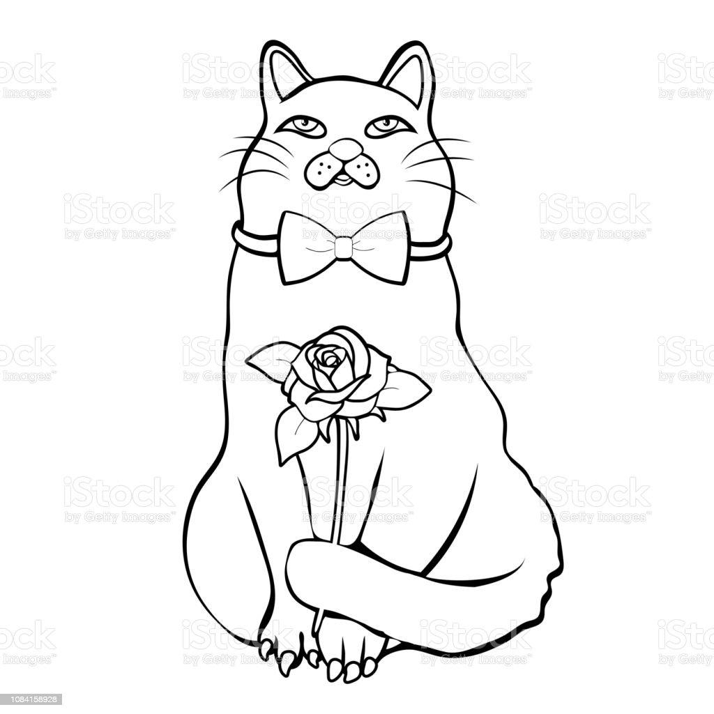 Coloriage Chat Avec Des Fleurs.Chat Drole Mignon Avec Noeud Papillon Holding Fleur Part Lineaire