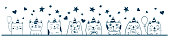 Cute funny cats sketch. Birthday party celebration. Doodle animal design.
