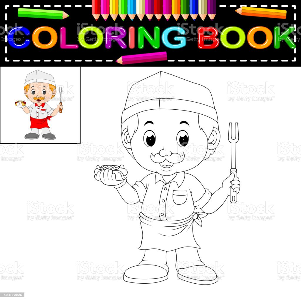 Cute Funny Chef Coloring Book Royalty Free Stock Vector Art