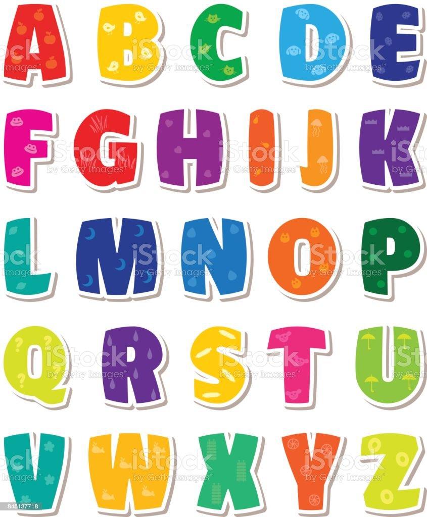 かわいい面白い幼稚なアルファベットベクトル フォント イラスト
