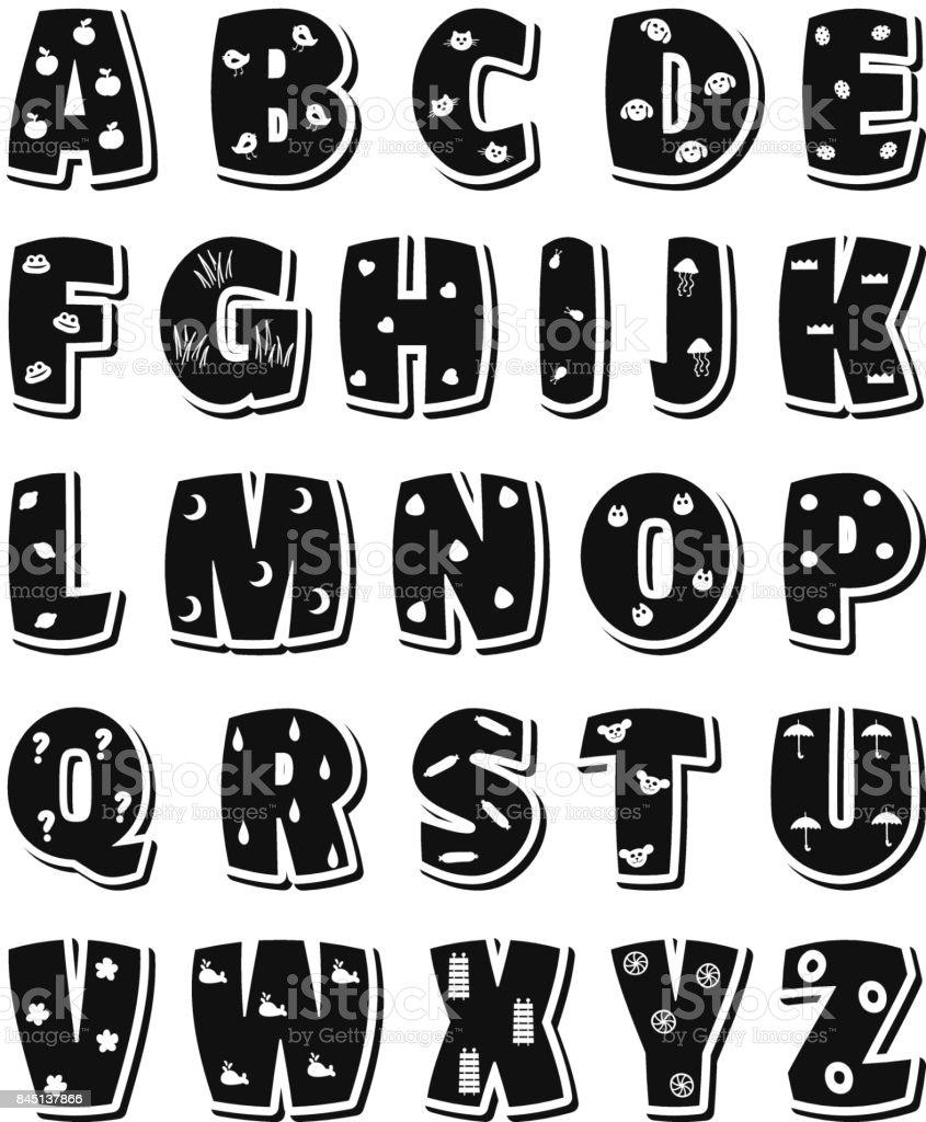 ccb5753c Cute funny childish alphabet. Vector font illustration royalty-free cute  funny childish alphabet vector