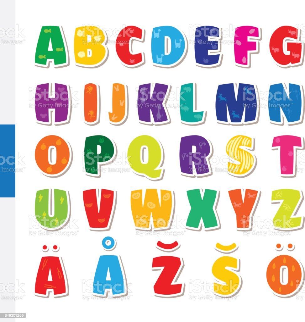 かわいい面白い幼稚なフィンランド語アルファベットベクトル フォント