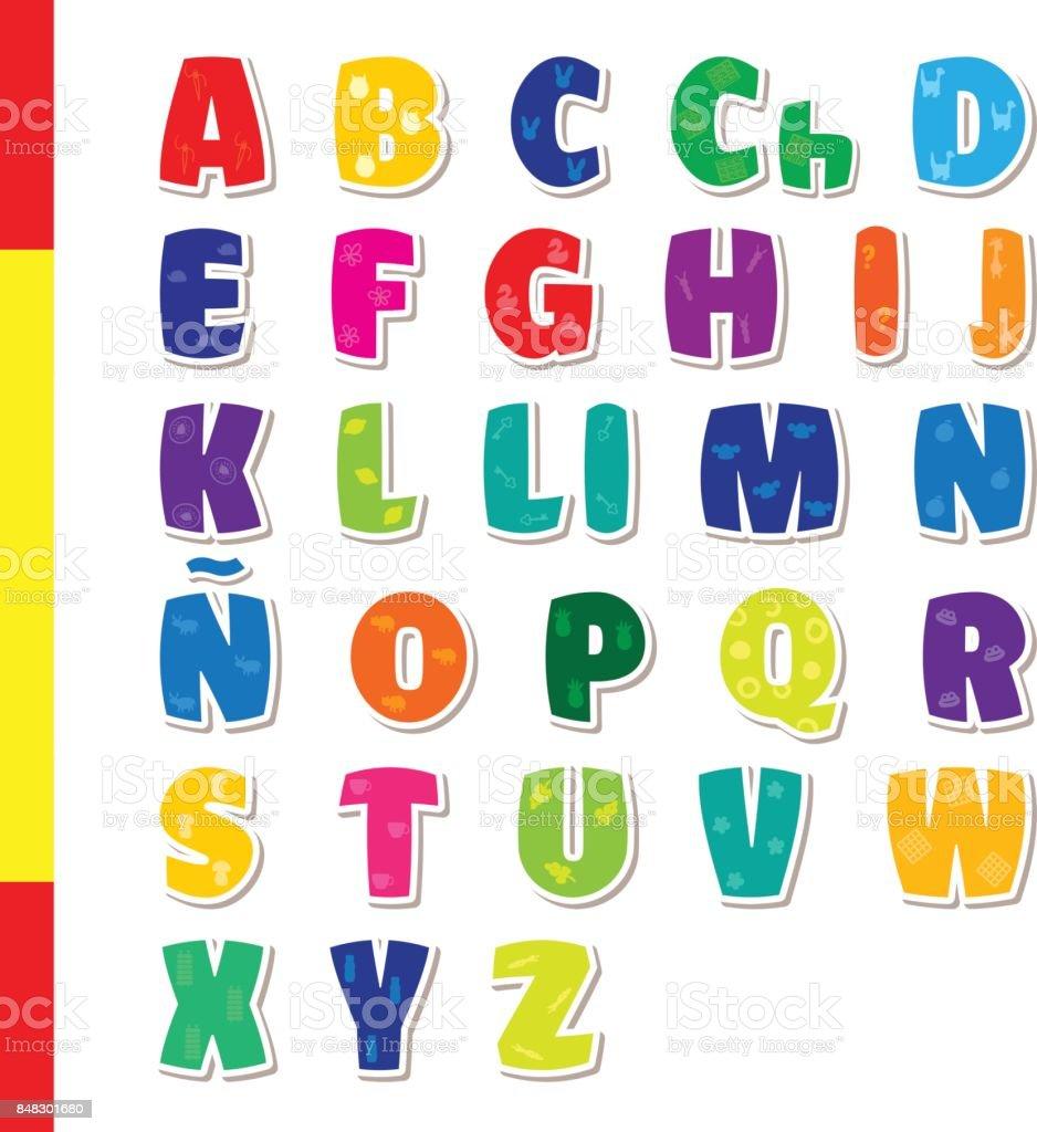かわいい面白い幼稚なスペイン語のアルファベットベクトル フォント
