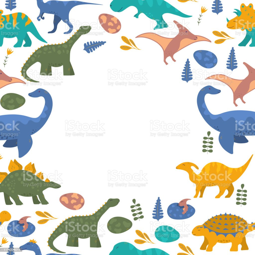 Ilustración De Lindo Divertido Borde De Dinosaurio Colorido