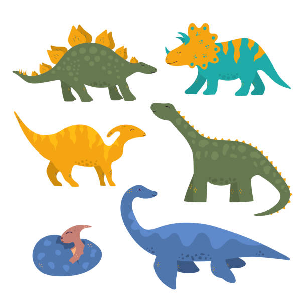 Cute funny colorful dinosaur collection for kids with baby pterodactyl in the egg. Vector isolated dino stickers for prints. Cute funny colorful dinosaur collection for kids with baby pterodactyl in the egg. Vector isolated dino stickers for prints. animal stock illustrations