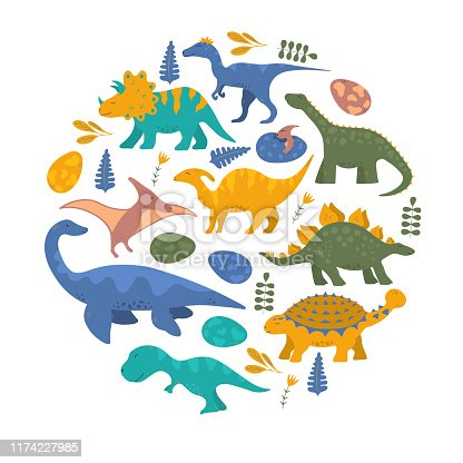 Cute funny colorful dinosaur frame for kids with rex and pterodactyl. Vector isolated floral dino background for print or boy t-shirt.
