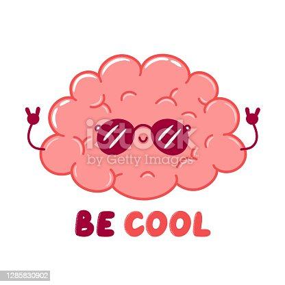 Cute funny cool human brain organ