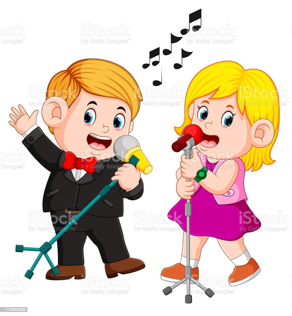 Mignon Couple Drole Chantant Des Chansons Emotionnelles Vecteurs Libres De Droits Et Plus D Images Vectorielles De Adulte Istock