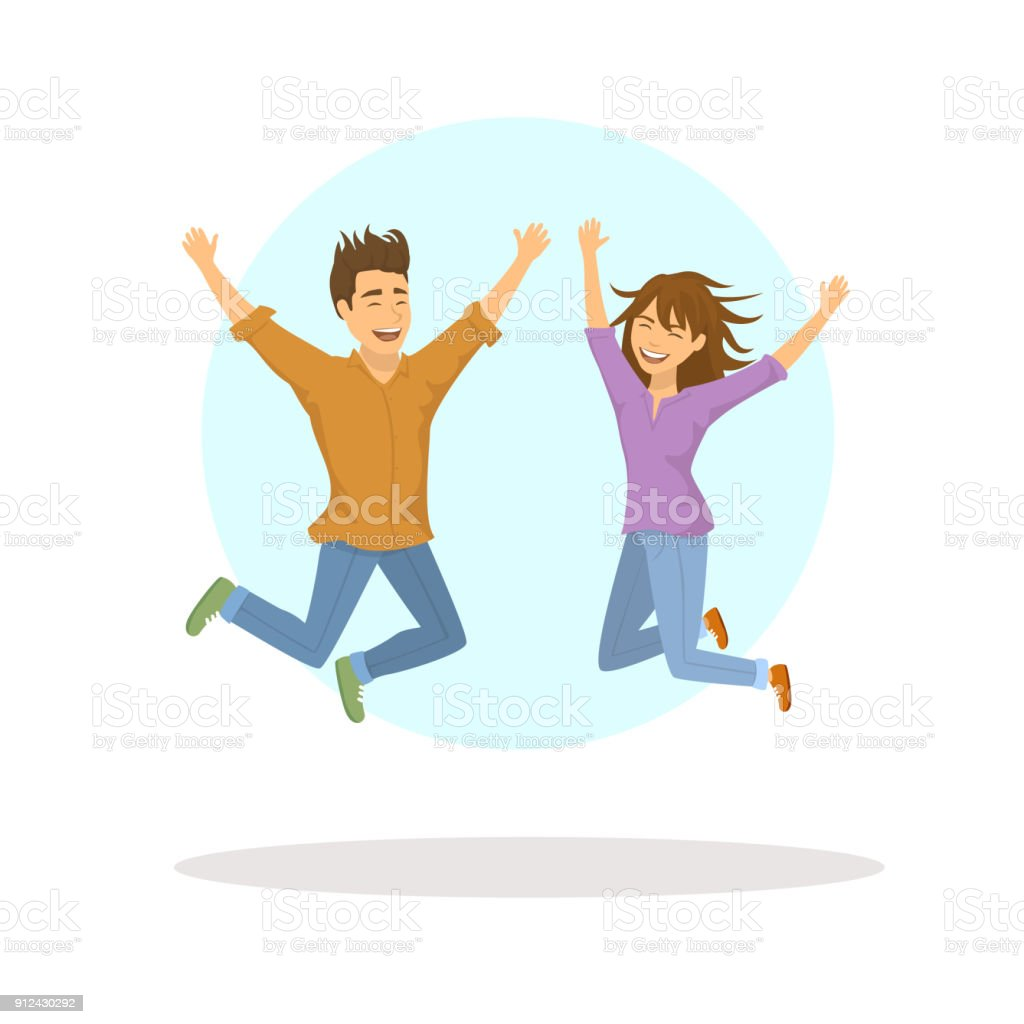 cute funny couple, man and woman jumping for joy vector art illustration