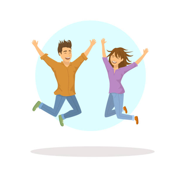 cute funny couple, man and woman jumping for joy cute funny couple, man and woman jumping for joy excitement stock illustrations