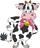 Cute funny cow of standing