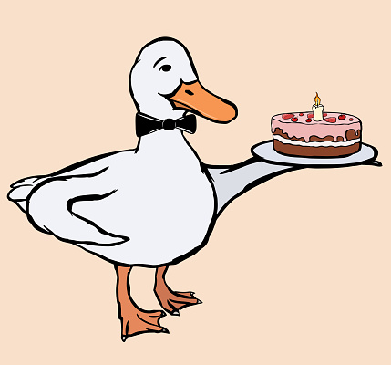 A cute funny duck waiter with a bow tie holding a plate with pink-glased chocolate cake in the wing.