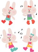 istock Cute Funny Female Bunny Characters in various emotions 165722805