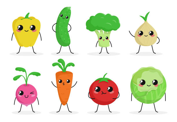 cute funny food characters set isolated on white background. vegetables collection. healthy food. carrot, cucumber, broccoli, tomato. beautiful simple cartoon design. flat style vector illustration. - lettuce stock illustrations