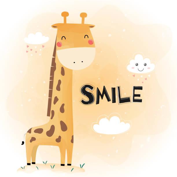 niedliche lustige giraffe - giraffenhumor stock-grafiken, -clipart, -cartoons und -symbole