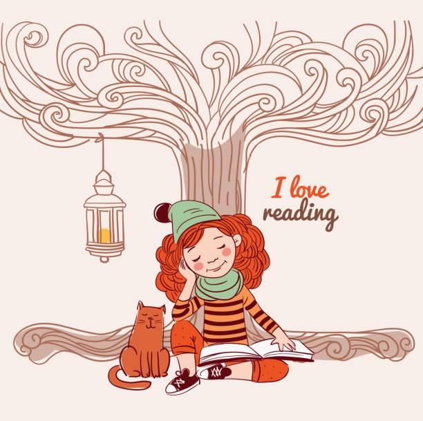 stockillustraties, clipart, cartoons en iconen met leuke, grappige meisje leest een boek onder de boom - mini amusementpark