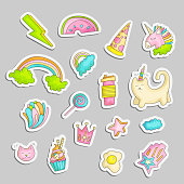 Cute funny Girl teenager colored stickers set, fashion cute teen and princess icons. Magic fun cute girls objects - unicorn, rainbows, pizza, crown, cats, stars and other draw teens icon patch collection colored on gray