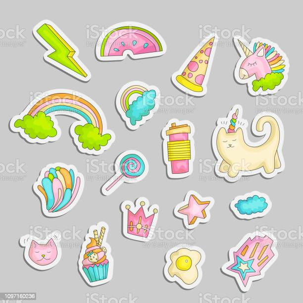 Cute funny girl teenager colored stickers set fashion cute teen and vector id1097160236?b=1&k=6&m=1097160236&s=612x612&h=5t9wnb7pcees6serh4raogx2twjkaijufehehb0ggkq=