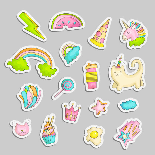 ilustrações de stock, clip art, desenhos animados e ícones de cute funny girl teenager colored stickers set, fashion cute teen and princess icons. magic fun cute girls objects - unicorn, rainbows, pizza, crown, cats, stars and other draw teens icon patch collection. - girl