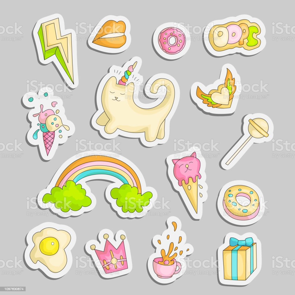 Cute Funny Girl Teenager Colored Stickers Set Fashion Cute Teen And
