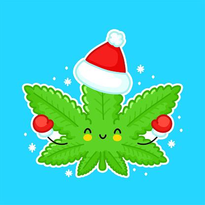 Cute funny happy weed marijuana leaf