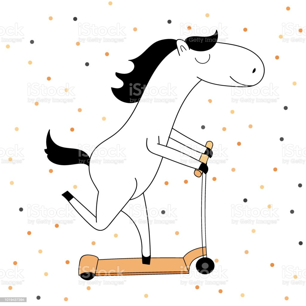 Cute Funny Horse Riding On The Scooter In The Background With Dots Stock Illustration Download Image Now Istock