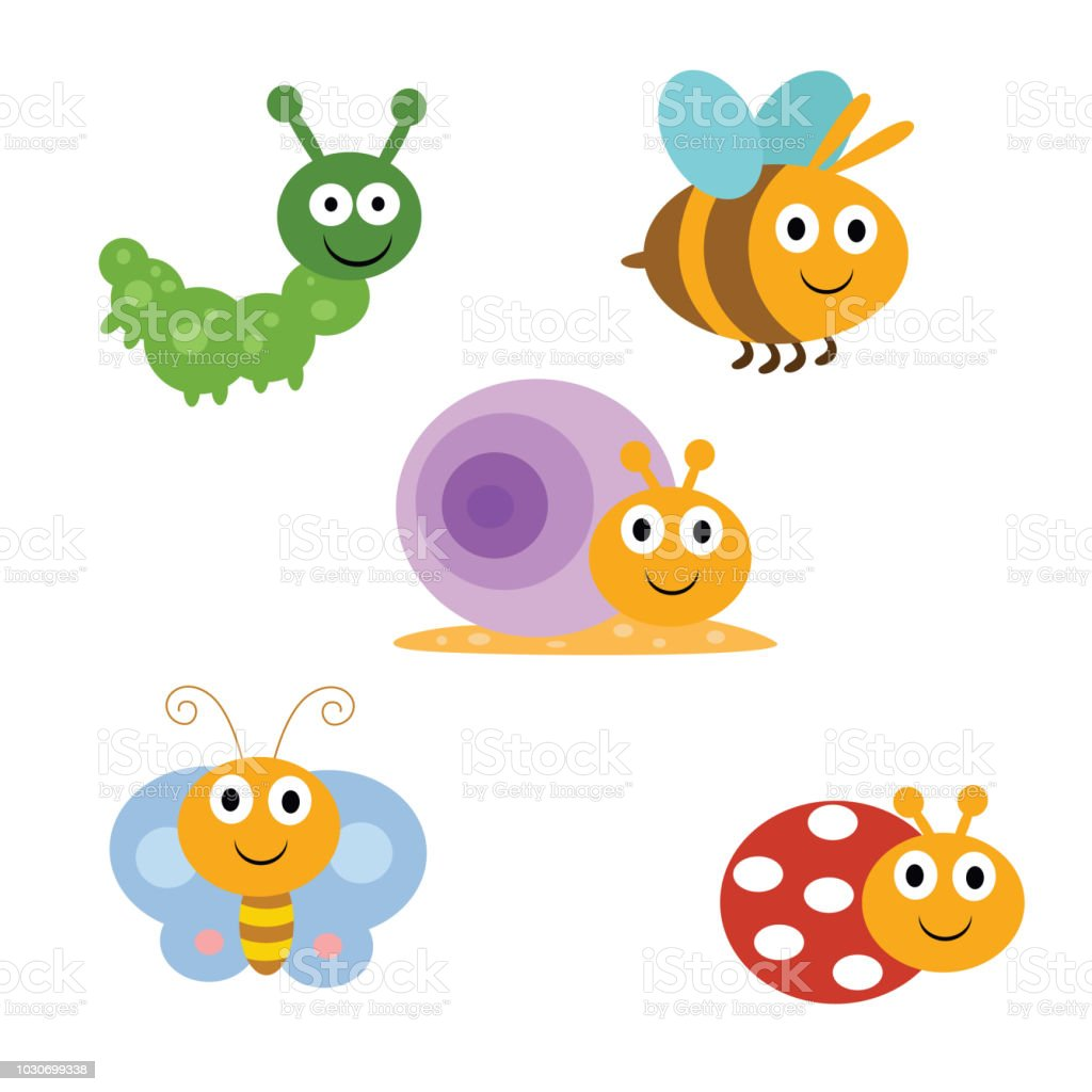 Cute Funny Insect Or Bug Caterpillar Bee Snail Butterfly And Laddybug Cartoon Character Stock Illustration Download Image Now Istock