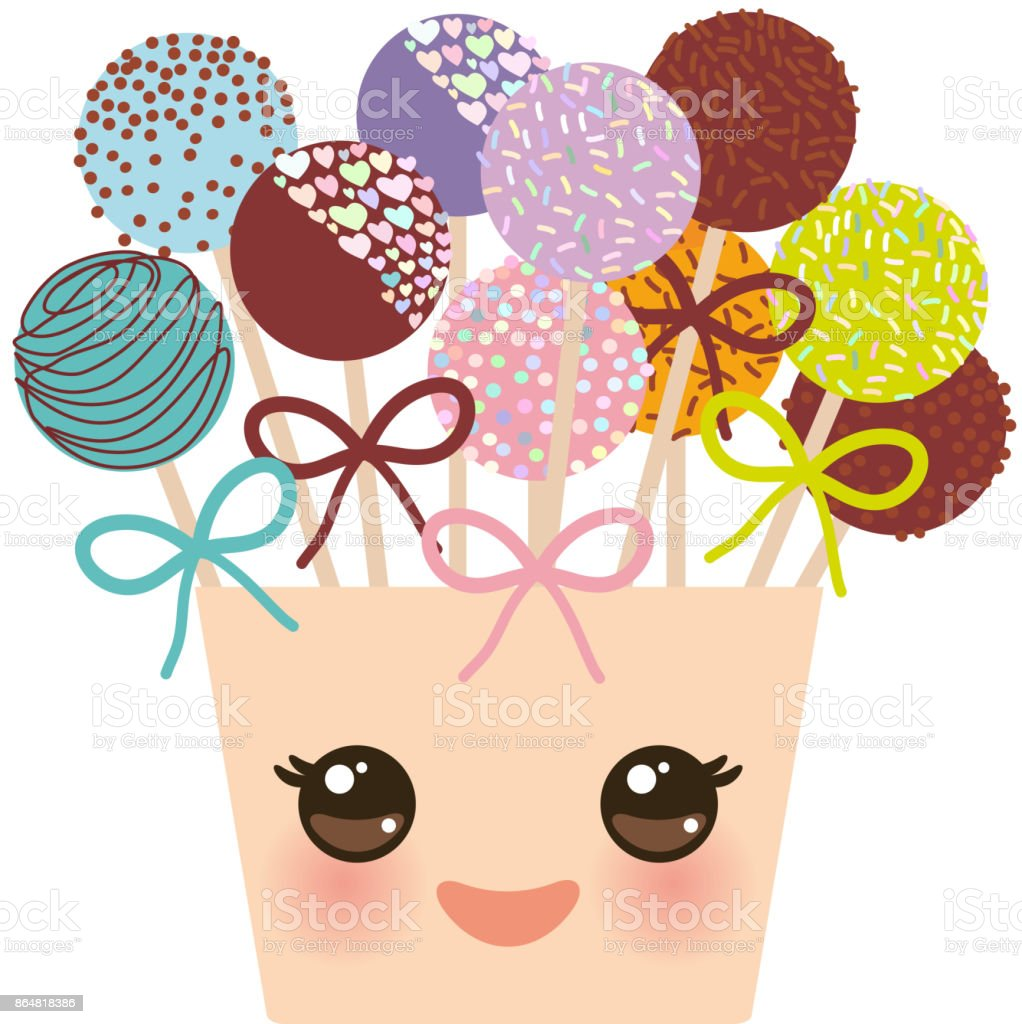 Cute Funny Kawaii Colorful Sweet Cake Pops Set With Bow In