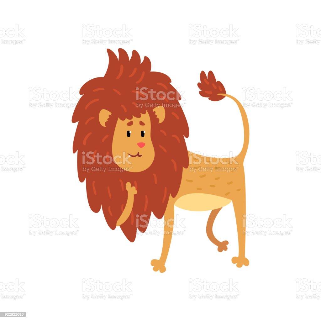 かわいい面白いライオン カブ漫画文字ベクトル イラスト白背景に