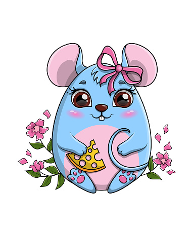 Cute funny little cartoon mouse clutching a piece of cheese