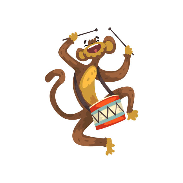 Cute Funny Monkey Playing Drum Cartoon Animal Character With Musical