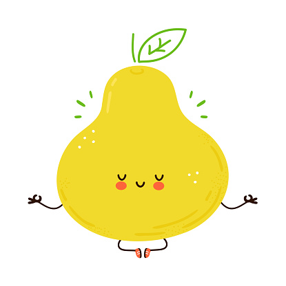 Cute funny Pear fruit meditate in yoga pose. Vector hand drawn cartoon kawaii character illustration icon. Isolated on white background. Pear fruit meditate concept
