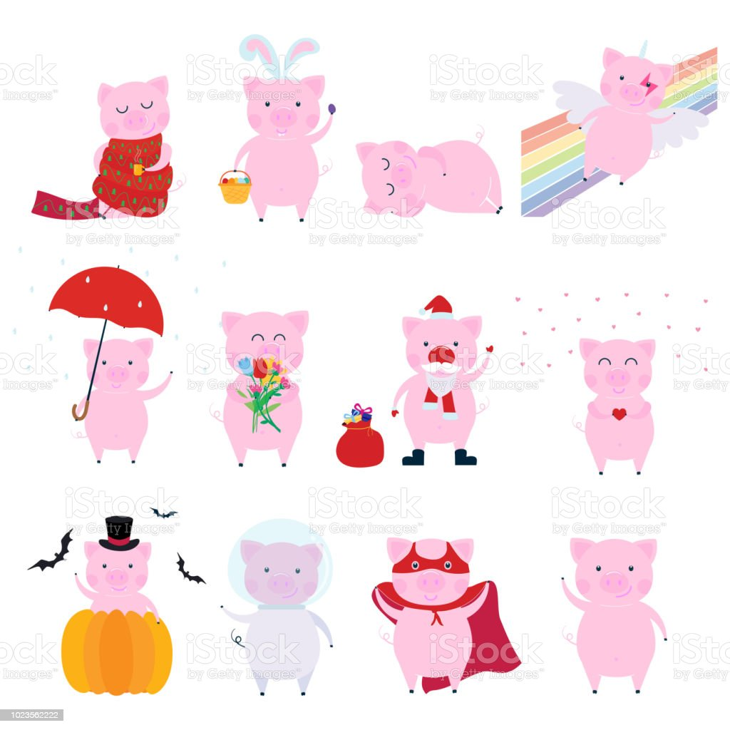 Cute Funny Pig Character Set Symbol Of The 2019 Chinese New Year