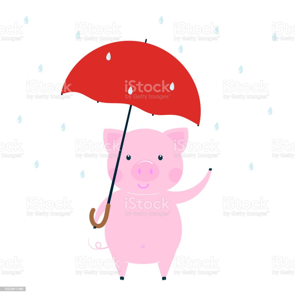 Cute Funny Pig Character Symbol Of The 2019 Chinese New Year Flat