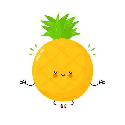 Cute funny Pineapple fruit meditate in yoga pose. Vector hand drawn cartoon kawaii character illustration icon. Isolated on white background. Pineapple fruit meditate concept