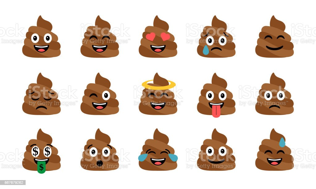 Cute funny poop set. Emotional shit icons. Happy emoji, emoticons vector art illustration