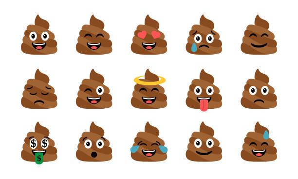 Merde drôle mignon ensemble. Icônes de merde émotionnelle. Heureux emoji, émoticônes - Illustration vectorielle