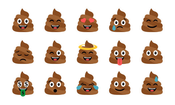 cute funny poop set. emotional shit icons. happy emoji, emoticons - emoji stock illustrations, clip art, cartoons, & icons